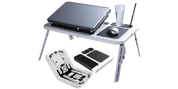 Αναδιπλούμενο τραπεζάκι laptop με βάση ψύξης, ΤΩΡΑ ΜΟΝΟ 19,90€ !!! , για απίστευτη ευκολία και πρακτικότητα, και βάση ψύξης με δύο ανεμιστήρες.  Με ειδική θέση για τη χρήση του ποντικιού και ειδική υποδοχή για το ποτήρι σας.  Πολύ εύκολο στη χρήση και ανθεκτικό, κατάλληλο για όλα τα notebook.  Τα πόδια ρυθμίζουν στο επιθυμητό ύψος και η βάση ψύξης ρυθμίζει στην επιθυμητή κλίση (μοίρες), με πανελλαδική αποστολή στο χώρο σας.