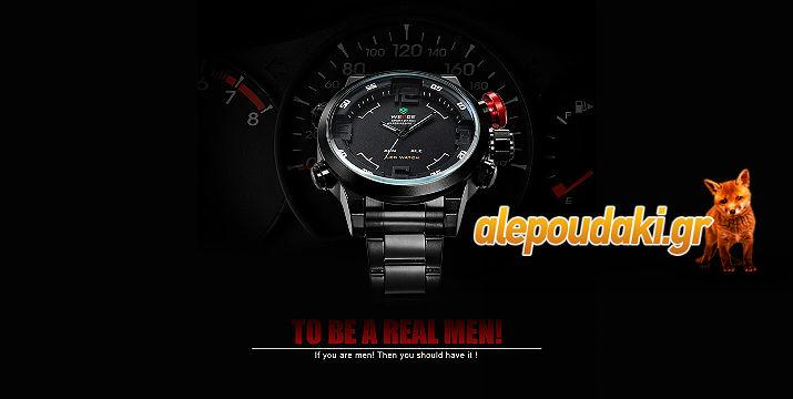 WEIDE WH2309 Ανδρικό σπόρ στρατιωτικού στύλ LED ρολόι καρπού, Dual Time Display με alarm και με ανοξείδωτο ατσάλινο δέσιμο !!!