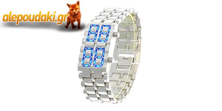 ΜΟΝΟ με 11€!!! Iron Samurai-LAVA Inspired ρολόι με μπλε LED, για έξυπνους και μοντέρνους ανθρώπους, με ξεχωριστή σχεδίαση. Αρχική τιμή 21€. Είναι ένα πολύ καλό, οικονομικό και χρήσιμο δώρο για εσάς και τους φίλους σας !!