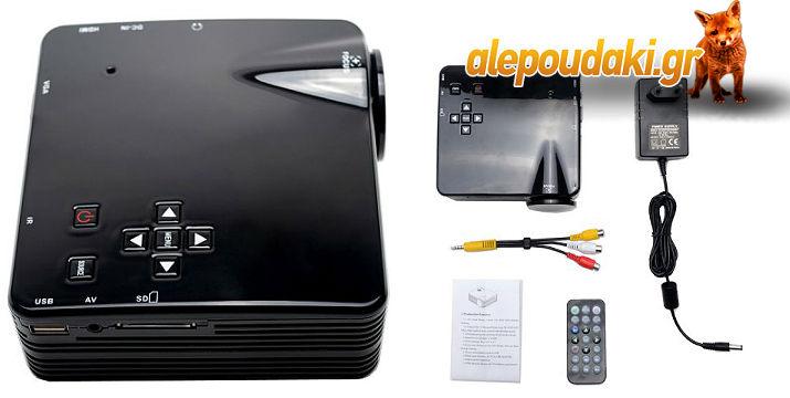 Προβολέας GeekWire LP-5A, LCD, 400 Lumens, LED,  Μέγεθος οθόνης 20 ~ 120 ιντσών.