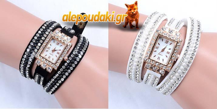 ΜΟΝΟ με 12,90€!!! Πολυτελές γυναικείο βραχιόλι ρολόι με διαμάντια και πέρλες. Σχεδιασμός δέρμα Watchband, κομψό, εξαίσια εξατομικευμένο σχεδιαστικά και με ευαισθησία στην κατασκευή !!!