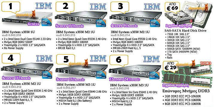 IBM Rack Mount refurbished Servers, Intel Xeon Dual, Quad & Six Core, από 495€ !!!  Πλέον έχετε το περιθώριο να  τον server σας, όπως εσεις θέλετε !!!