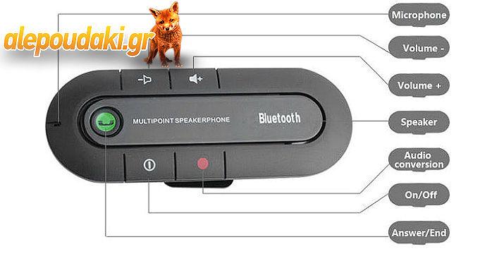 Μεγάφωνο Bluetooth Αυτοκινήτου, για να απολαύσετε την ευκολία και την ελευθερία της ασύρματης επικοινωνίας !!!  Με λειτουργία DSP, για ακύρωση ηχούς και μείωση του θορύβου, για άψογη ποιότητα ήχου, πλήρως αμφίδρομα !!!