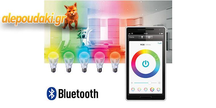 Λαμπτήρας SmartLite Bluetooth LED Colour Bulb E27 9W, με Application για να συνδεθείτε με το SmartPhone / iPhone !!!  Με ισχύ 9W, (ισοδύναμο με 60W), φωτεινότητα 800 lumens και διάρκεια ζωής 15000 ώρες (~8 χρόνια / 5 ώρες την μέρα)  είναι ιδανική αντικατάσταση για τους κλασσικούς λαμπτήρες σας !!!