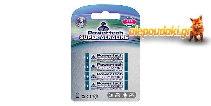 POWERTECH Super Αλκαλικές μπαταρίες AAA LR03, 4 τεμ, 5 χρόνια εγγύηση