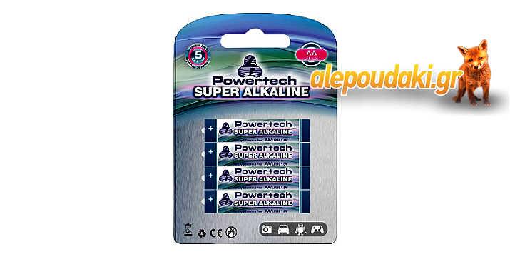 POWERTECH Super Αλκαλικές μπαταρίες AA LR6, 4 τεμ, 5 χρόνια εγγύηση